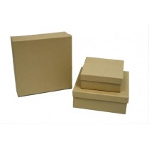 Christmas Kraft Square Gift Boxs ~ 3 per pack