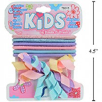 Kid's Pastel Ponyholders (6) + 1 Frilly Clip