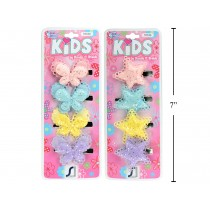 Kid's Snap Barrettes w/Soft Star or Butterfly ~ 4/pk