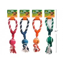 Dog Rope Tug Toy with Ball ~ 12""