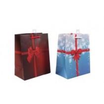 Christmas Medium Gift Bag ~ Bows & Ribbons ~ 12 per Bag