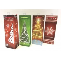 Christmas Bottle Gift Bag ~ Trees/Snowflakes