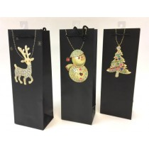 Christmas Bottle Gift Bag ~ Pendants on Black
