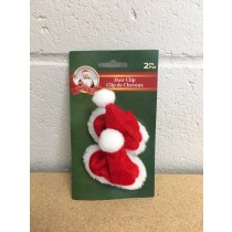 "Santa Hat Hair Clips - 2"" x 3.5"" ~ 2 per pack"