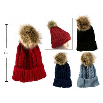 Ladies Cable Knit Beanie Hat with Faux Fur Pom Pom