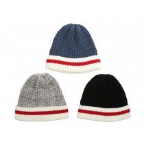 Adult Knitted Beanie Hat with Cuff & Red Stripe