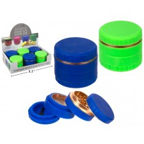 """MojiMellow 2.5"""" Aluminum Cylinder Grinder with Silicone Cover ~ 4 Part"""