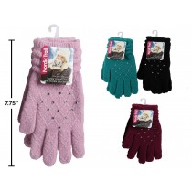 Ladies Knit Gloves with Rhinestones & Diamond Pattern