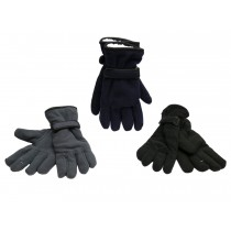 Men's Polar Fleece Gloves with Sherpa Linig & Velcro Strap at Wrist