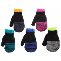 Kid's Knitted Mittens with Melange Fingers & Cuff