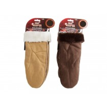 Ladies Suede Mittens with Sherpa Cuff & Lining
