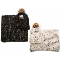 Ladies Knitted Hat & Scarf Set