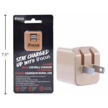iFocus Dual Port USB Wall Charger - 2.4A/5V ~ Gold
