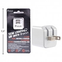 iFocus Dual Port USB Wall Charger - 2.4A/5V ~ Silver