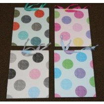 Medium Gift Bags ~ Polka Dots Matte w/Satin Ribbon Handles