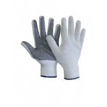 Bleached White Knit Gloves with PVC Dots ~ sold by the dozens only
