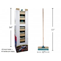 "Garage Push Broom ~ 52"" Wooden Handle + 12"" Head"