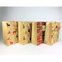 Christmas Medium Gift Bag ~ Kraft Hot Stamped