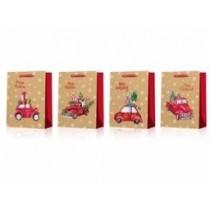 Christmas Jumbo Gift Bag ~ Matte / Glitter Red Trucks