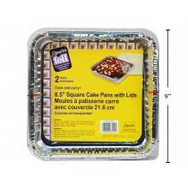 Foil Cake Square Pan w/Lid ~ 2 per pack
