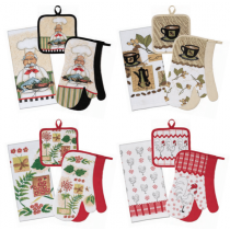 Printed Kitchen Set - Oven Mitts, Towel & Pot Holder ~ 4 pieces