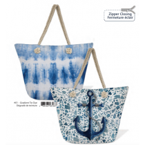 Canvas Printed Beach Tote with Rope Handles