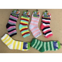 Ladies Striped Cozy Crew Socks