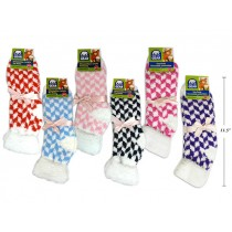 Ladies Checkered Cozy Socks with Cuff