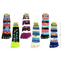Ladies Printed Toe Socks ~ 13""