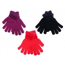 Ladies Solid Color Magic Gloves with Feather Cuff