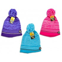 Youth's Knitted Hat with Reflective Band & Pom Pom