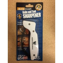 AccuSharp Knife & Tool Sharpener ~ White w/Black Finger Guard