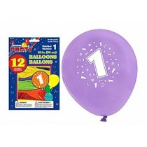 "12"" Round Balloons - Number 1 ~ 12 per pack"