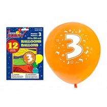 "12"" Round Balloons - Number 3 ~ 12 per pack"