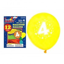 "12"" Round Balloons - Number 4 ~ 12 per pack"