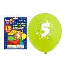 "12"" Round Balloons - Number 5 ~ 12 per pack"