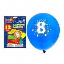 "12"" Round Balloons - Number 8 ~ 12 per pack"