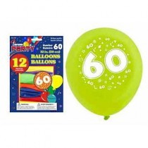 """12"""" Round Balloons - Number 60 ~ 12 per pack"""