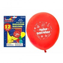 "12"" Round Balloons - Happy Birthday ~ 12 per pack"