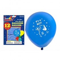 "12"" Round Balloons - Blue - IT'S A BOY ~ 12 per pack"