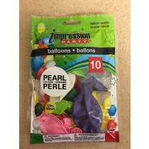 "12"" Round Balloons - Assorted Pearl Colors ~ 10 per pack"
