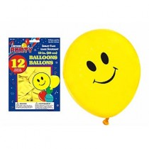 "12"" Round Balloons - Yellow w/Smiling Face ~ 10 per pack"