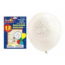 "12"" Round Balloons - White - Wedding Bells ~ 12 per pack"