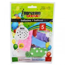 "12"" Round Balloons - Assorted Colors with Stars & Dots ~ 5 per pack"