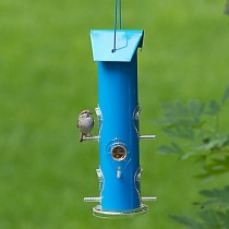 Perky-Pet Blue Metal Tube Bird Seed Feeder