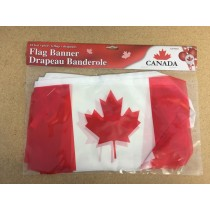 Canada Flag Plastic Banner - 6 flags ~ 10' long