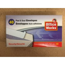 White Envelopes #8 w/SECURITY lining - Peel N Seal ~ 40 per box