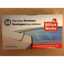 White Envelopes #8 - Peel N Seal ~ 50 per box