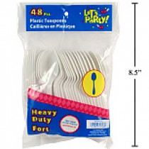 Plastic Cutlery - Tea Spoons ~ 48 pieces per pack