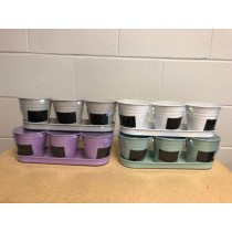 3 Metal Planters with Tray and Chalkboard Labels